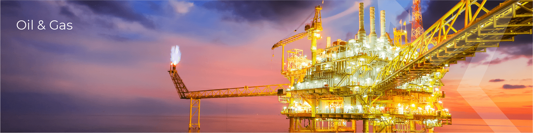 Oil & Gas Inudstry with photo of oil rig in sunset